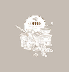 hand drawn design of coffee and sweet vector image