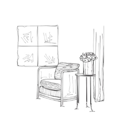 Hand drawn interior Table and chair sketch vector