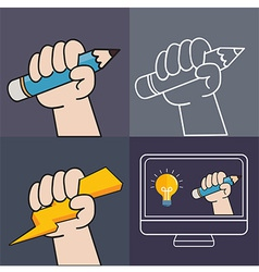 HandUp and Pencil vector image