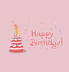 happy birthday cake card design vector image
