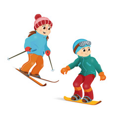happy teen girl skiing and boy snowboarding vector image