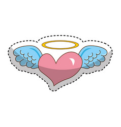 Heart with angel wings isolated icon vector
