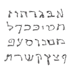 Hebrew Alphabet Font Jewish hand draw Graphic vector image