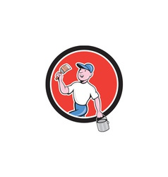 House Painter Holding Paintbrush Bucket Cartoon vector