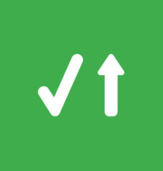 icon concept of check mark with arrow moving up vector image