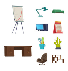 isolated object of furniture and work sign vector image