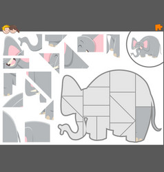 Jigsaw puzzle game with elephant vector