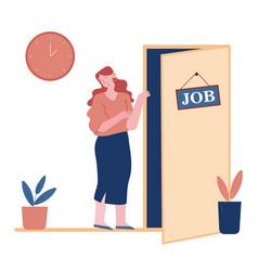 Job seeking concept businesswoman company hiring vector