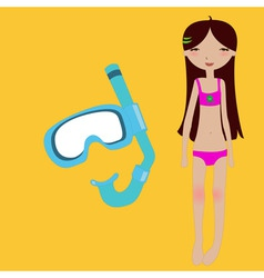 little girl and snorkel mask vector image