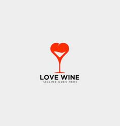 Love wine glass logo template icon element vector
