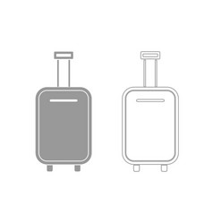 Luggage bag grey set icon vector
