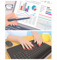 Male hand examine graphic and female type keyboard vector
