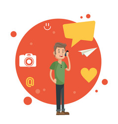 Man talking smartphone social media orange circle vector
