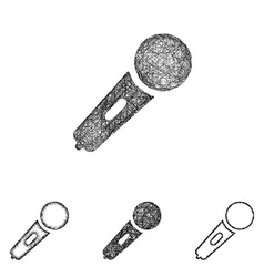 Microphone icon set - sketch line art vector