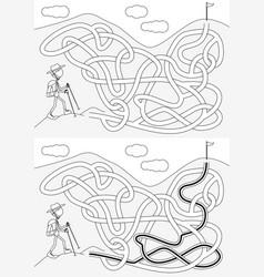 mountaineer maze vector image