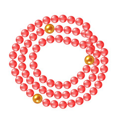 necklace of coral pearls on a white background vector image