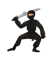 ninja with katana isolate on a white background vector image