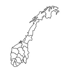 Norway map with fylke of black contour curves vector