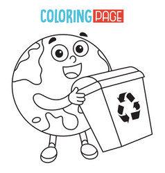 of earth coloring page vector image
