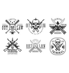 Outlaw ghetto criminal retro labels set street vector