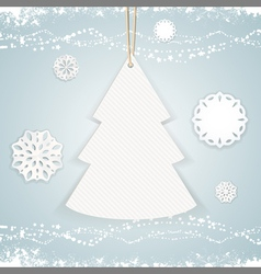 paper Christmas tree background on blue vector image
