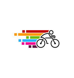 Pixel art bike logo icon design vector