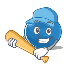 Playing baseball blueberry character cartoon style vector