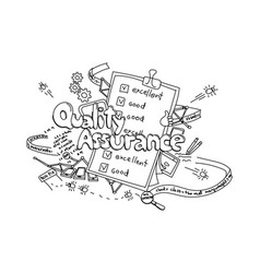 Quality assurance hand drawn isolated on white vector