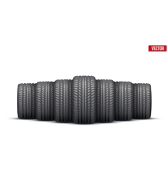 Realistic rubber tires banner vector image
