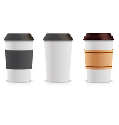 realistic set of paper coffee cups collection 3d vector image