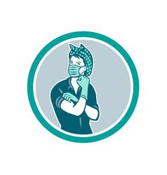 rosie riveter wearing mask mascot vector image