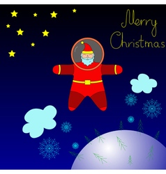 Santa is flying in space above the earth vector
