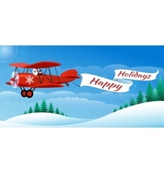 santa on airplane vector image