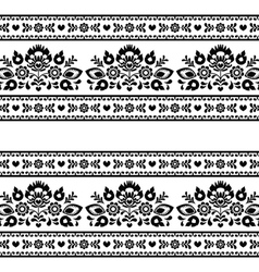 Seamless Polish black folk pattern with flowers vector image