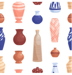 Seamless pottery pattern with ceramic porcelain vector