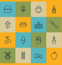 Set of 16 farm icons includes taste apple vector