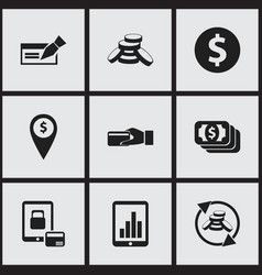 Set of 9 editable financial icons includes vector