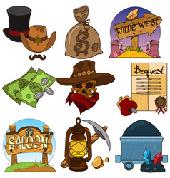 Set of color on the theme of the wild west vector