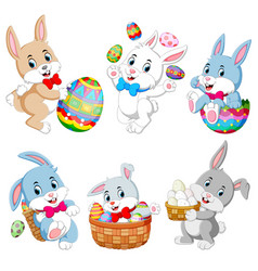 set of cute easter rabbits with easter eggs vector image