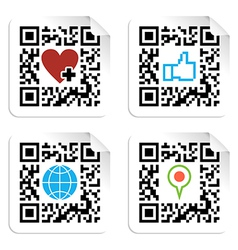 Set of QR codes with social media icons vector image
