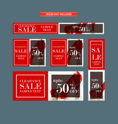 set of red and white framed sale web banners vector image