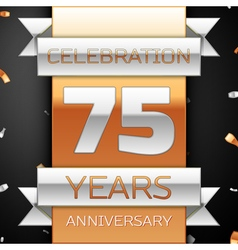 Seventy five years anniversary celebration golden vector