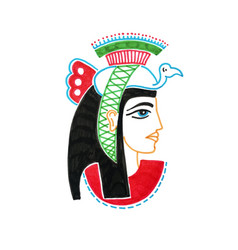 sketch marker drawing of egyptian goddess with a vector image