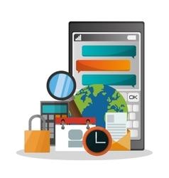smartphone and icon set design vector image