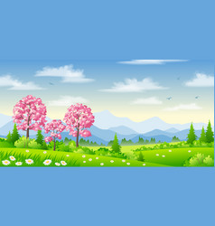 Spring landscape with blossoming trees vector