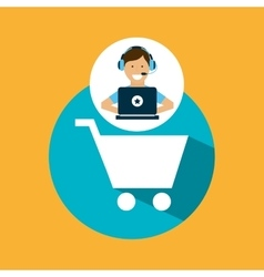 Support center with shopping cart vector
