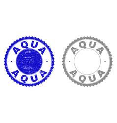 textured aqua scratched stamp seals vector image