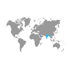 the map of india is highlighted in blue on the vector image