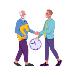 Time management exchange between old and young man vector