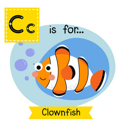 Tracing letter c for clownfish vector